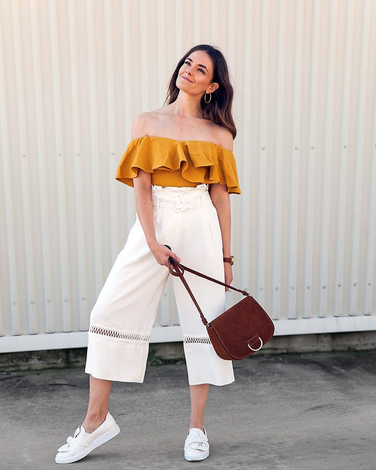Off shoulder with square pants