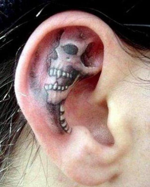 Skull tattoos in ears, Inner ear