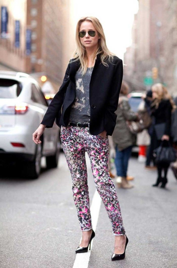Floral print trousers street style