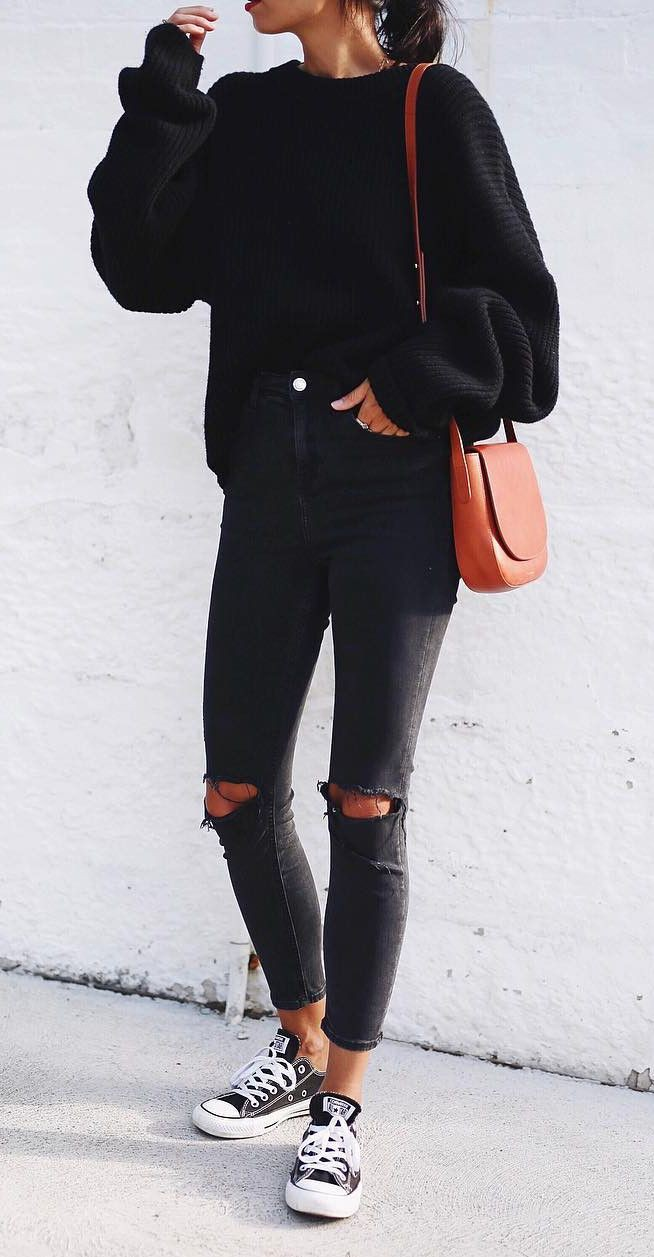 All black chuck taylors outfit