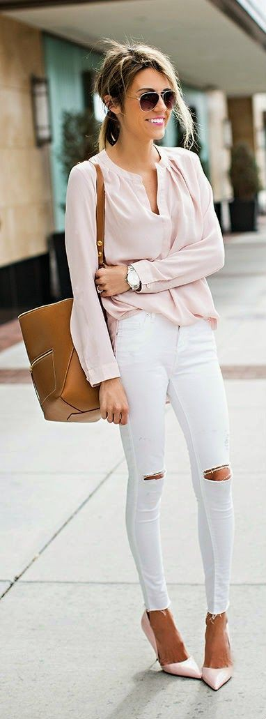 Pale pink shirt with white jeans