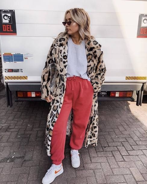 Outfits With Sweatpants, Animal print, Fake fur