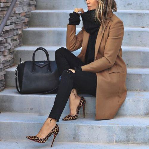 Dark camel coat outfit, Polo coat