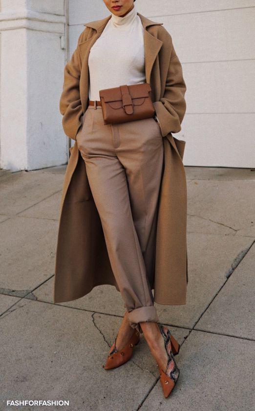 Camel coat street style 2019, Street fashion