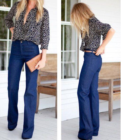 Wide leg high waisted jeans