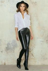 Casual Leather Pant Outfits For Women, Low-rise pants, Fashion accessory