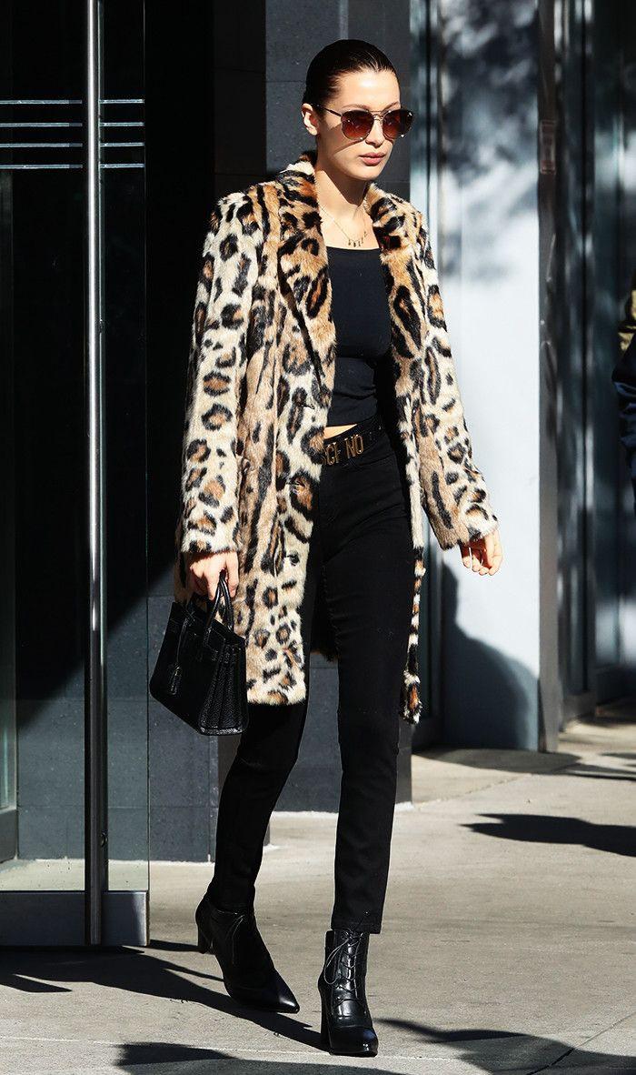 Celebrity leopard print coat, Animal print
