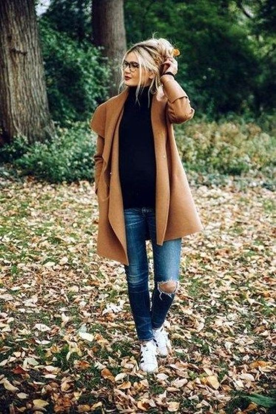 Camel coat outfit casual, Polo coat