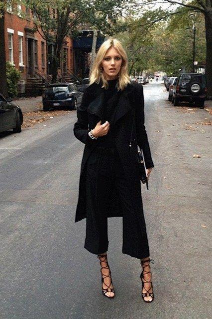 Falda pantalon negro look, Street fashion