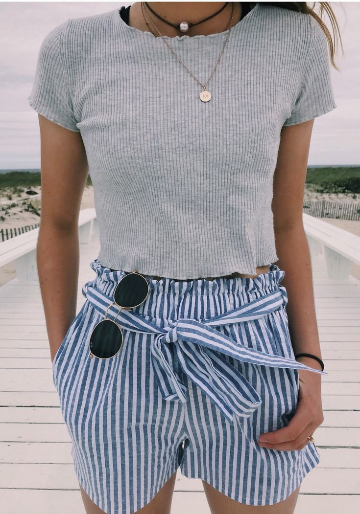 Blue and white striped shorts outfit