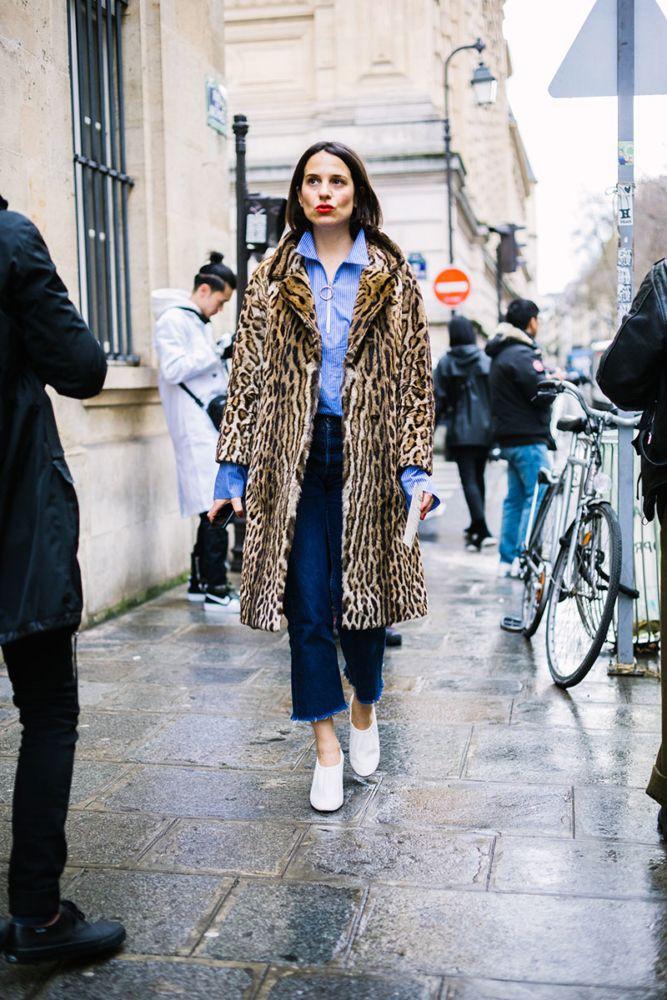 Leopard coat street style, Street fashion