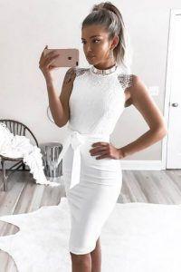 Womens classy white dress, Sheath dress