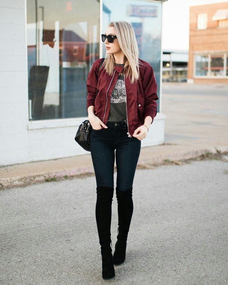 Get stylish look with bomber jacket ootd, Burgundy bomber jacket