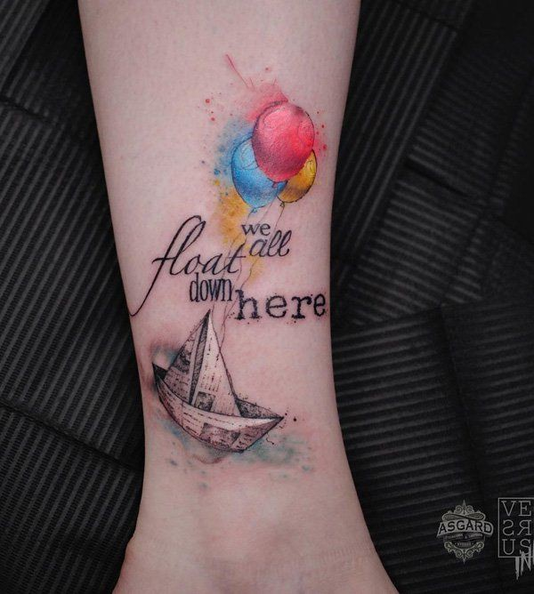 Boat and balloon tattoo, Sleeve tattoo