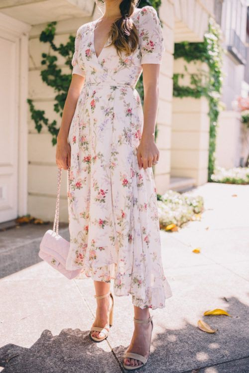 Floral wrap dress wedding guest