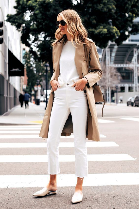 White jeans and trench coat