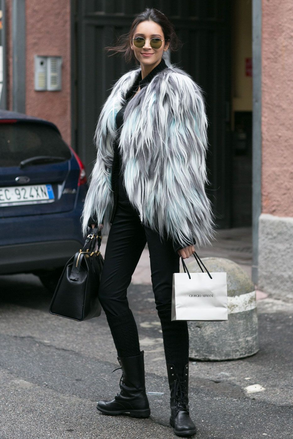 Grey fur jacket outfit, Fur clothing