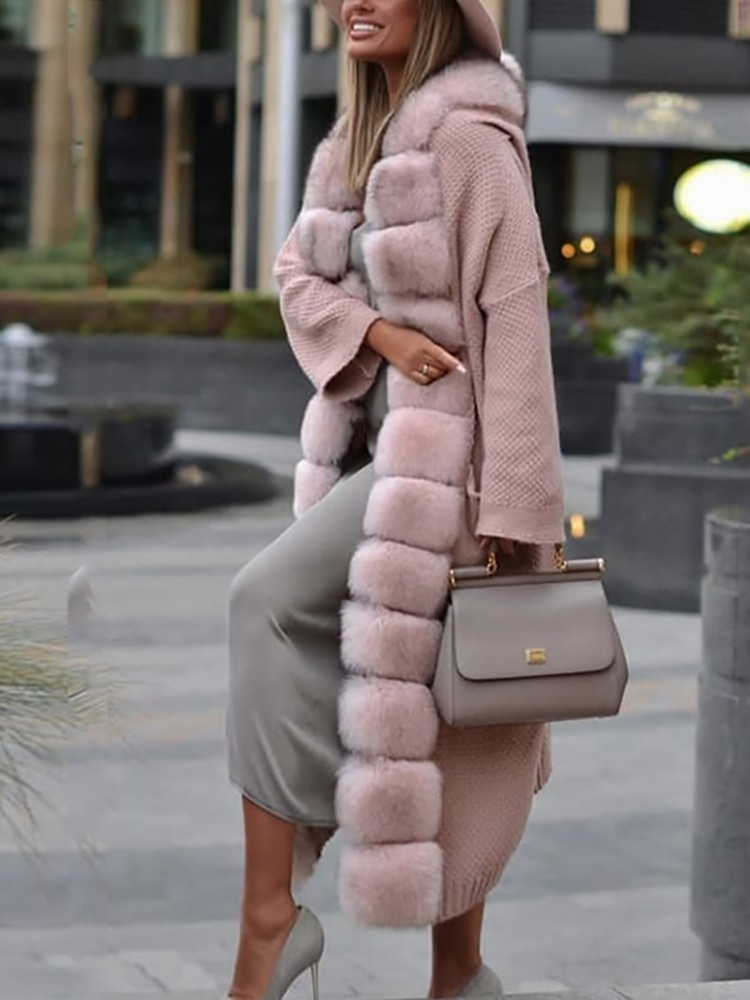 Fur Coat And Dress Outfit