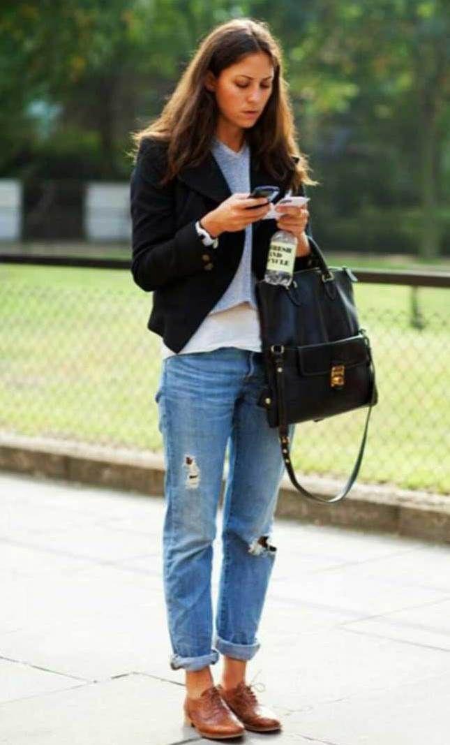 Boyfriend jeans oxford shoes