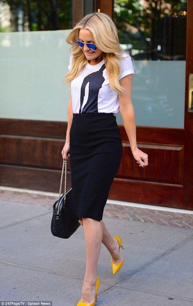 Style of today yellow stilettos outfit, Pencil skirt