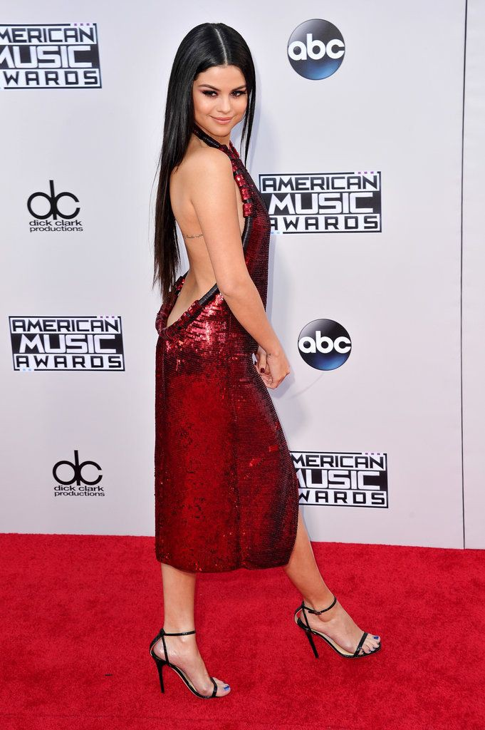 Selena gomez wearing red dress