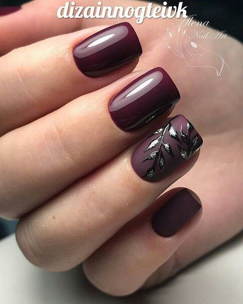 Way to wear burgundy fall nails, Matte Black Burgundy