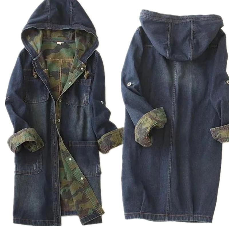 Hooded long denim jacket womens