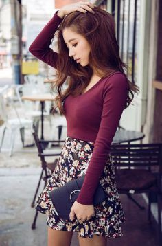 Long sleeve shirt outfits, Skater Skirt