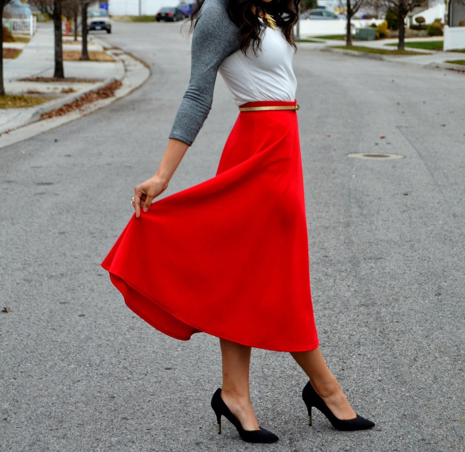 Cute Red Skirt Outfit
