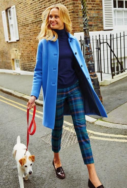 Blue coat outfit women, Navy blue