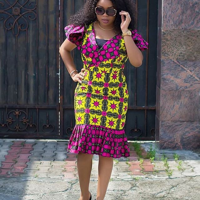 Party wear day dress, African wax prints