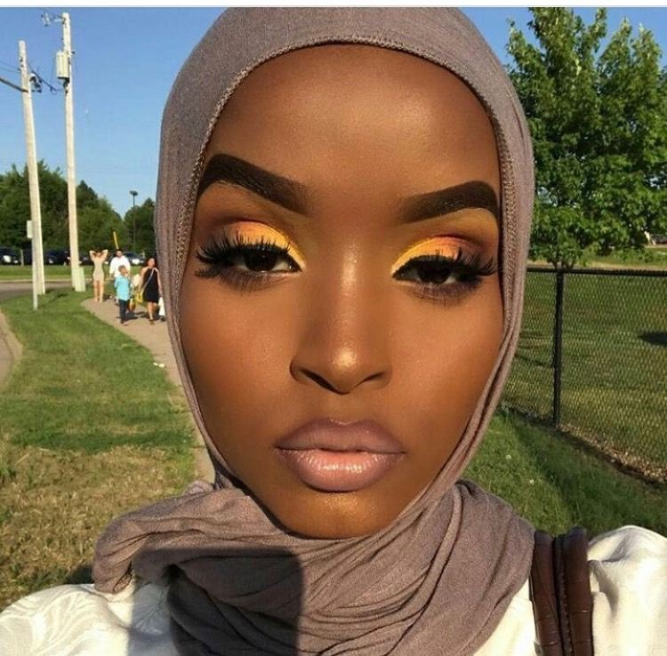 Yellow makeup look black girl