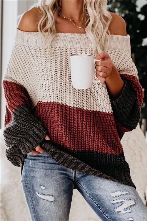 Off the shoulder color block sweater