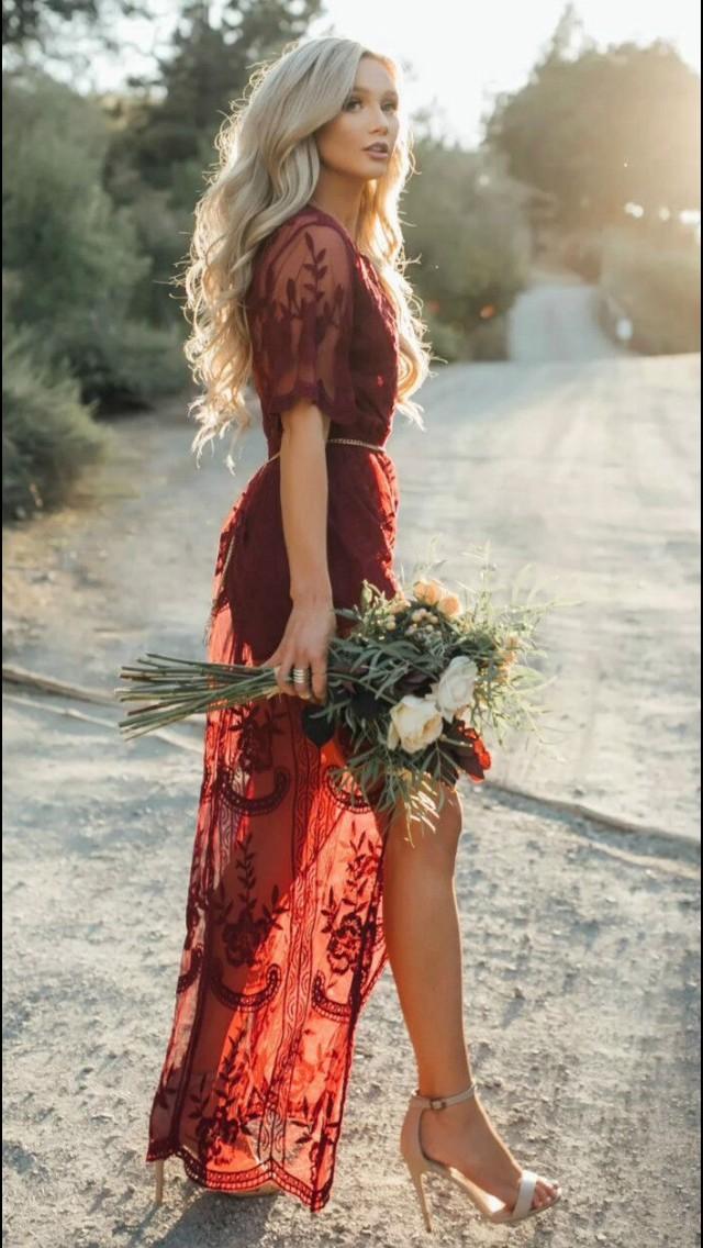 Red lace boho dress, Maxi dress