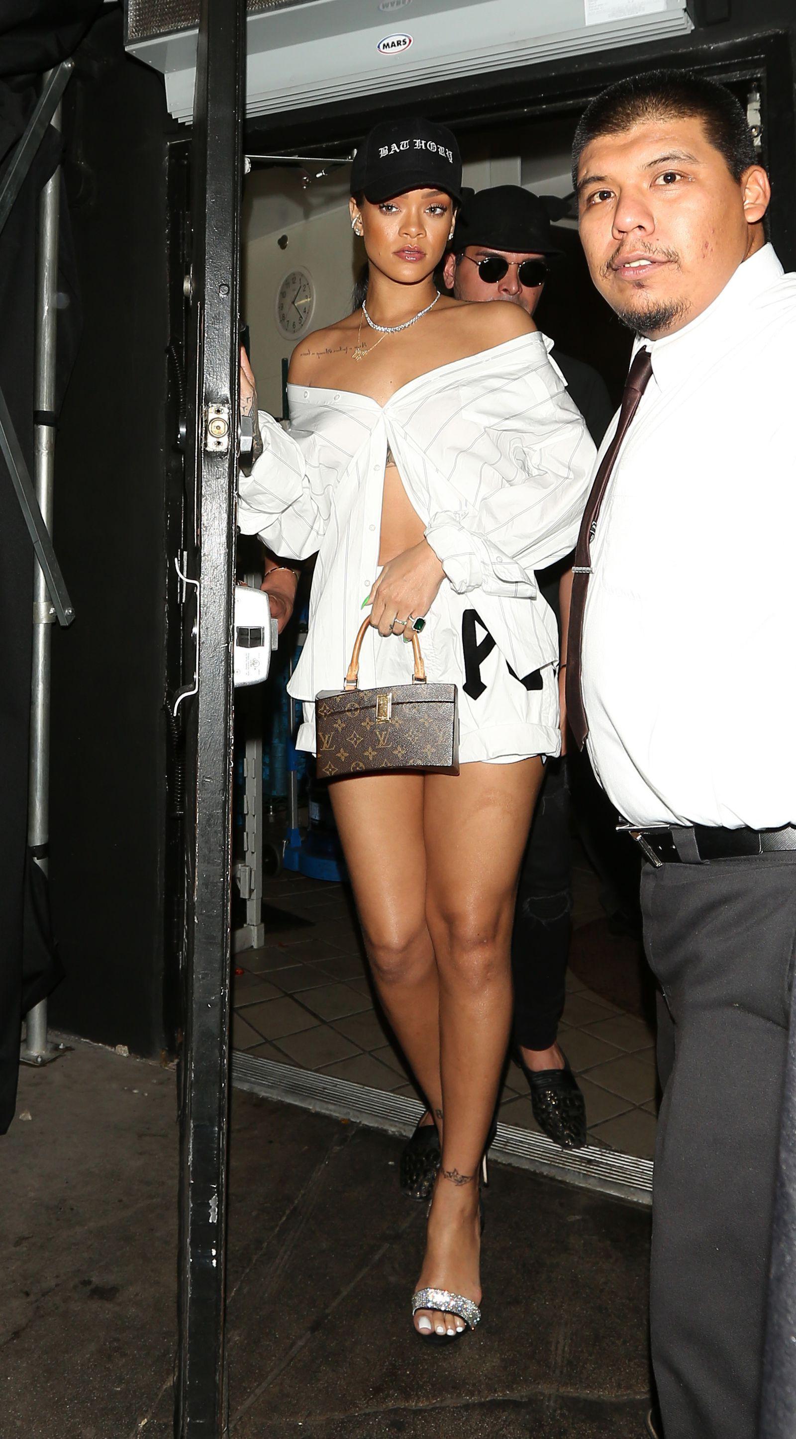 Rihanna off the shoulder button down