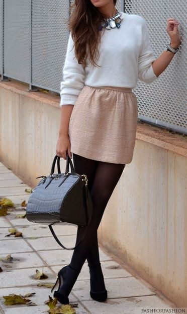 Pink skirt black tights, Casual wear