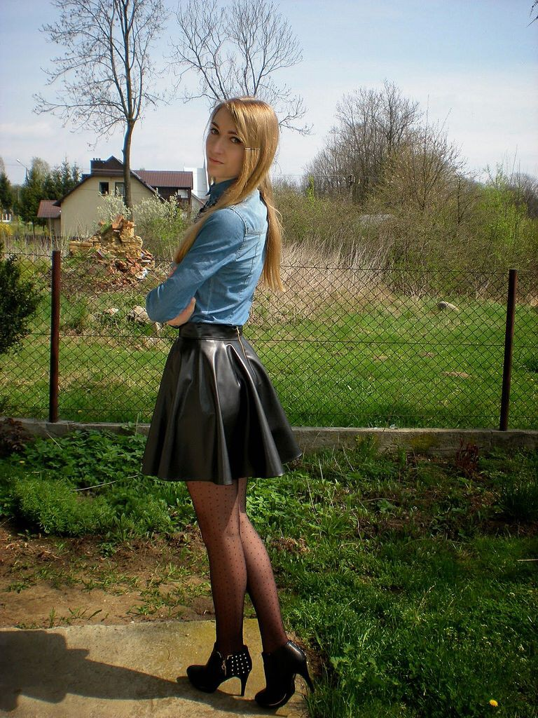 Leather skater skirt and boots