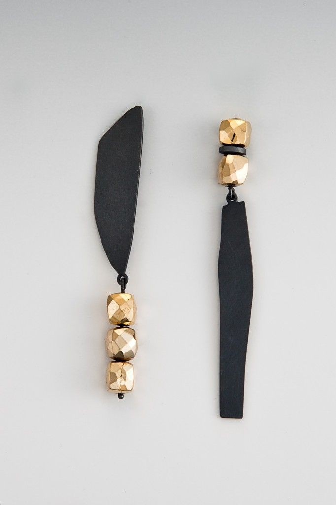 Asymmetrical Clip on Earrings, Silver & Gold Earrings, Jewelry design