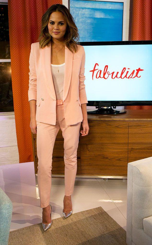 Womens pink suit silver heels