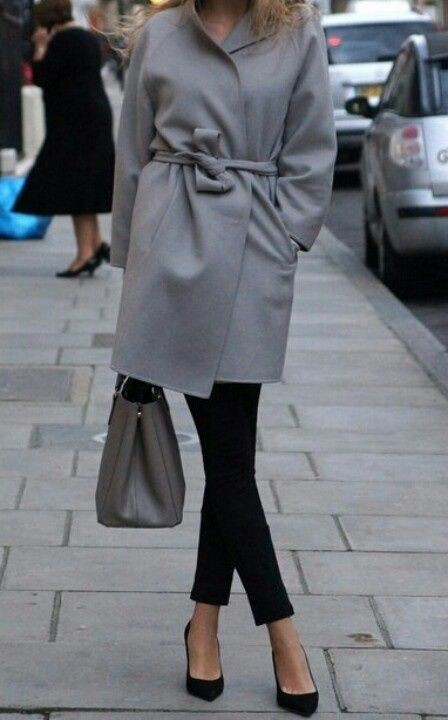 Love these cool wrap coat grey, Casual wear