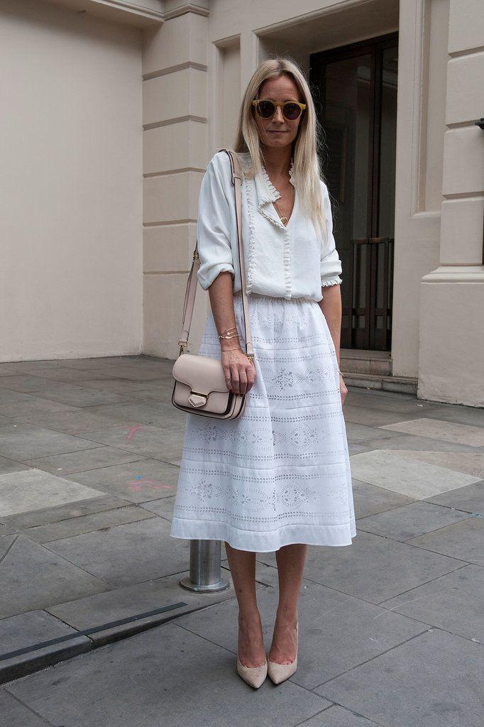 Dentelle jupe blanche midi, Street fashion