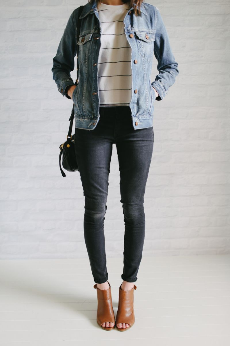Faded black jeans outfit, Jean jacket
