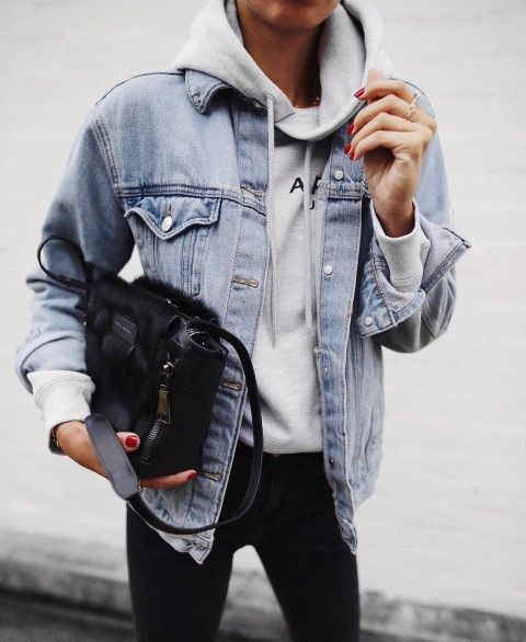 Jean jacket with hoodie, Jean jacket