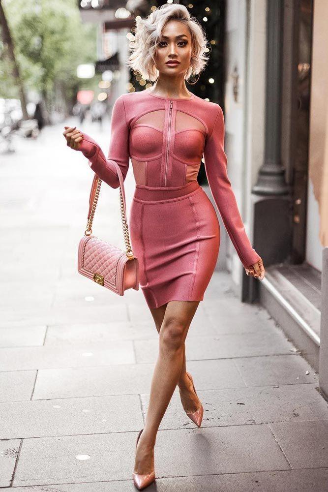 Pink dress outfit ideas, Bandage dress