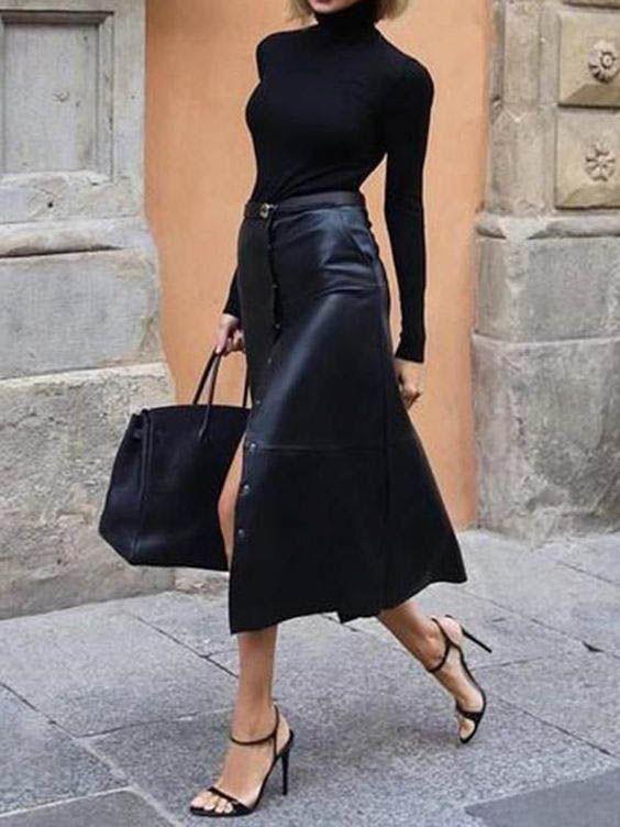 Style midi leather skirt
