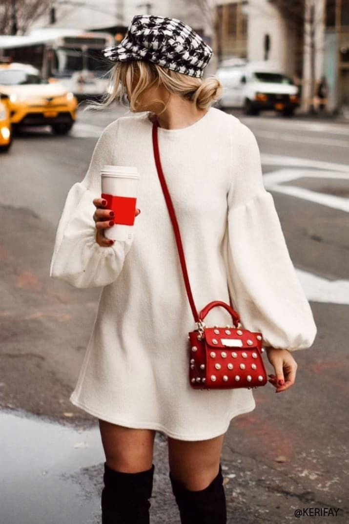 White sweater dress outfit, Winter clothing