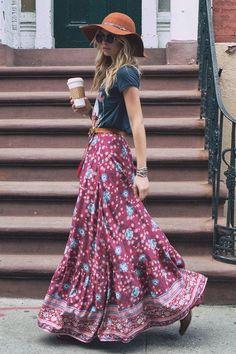 Boho maxi skirt outfit, Maxi dress