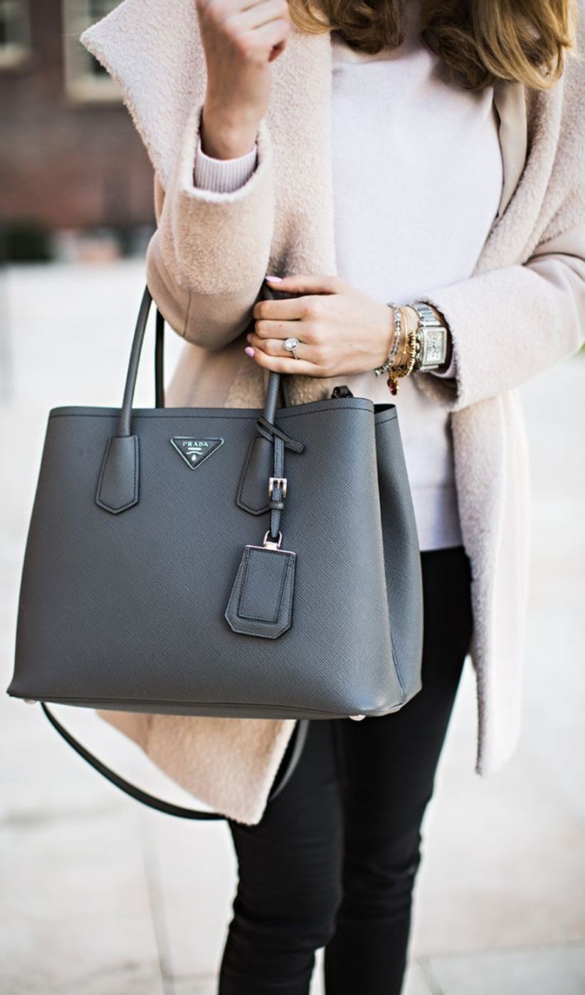 Prada double bag grey, Tote bag