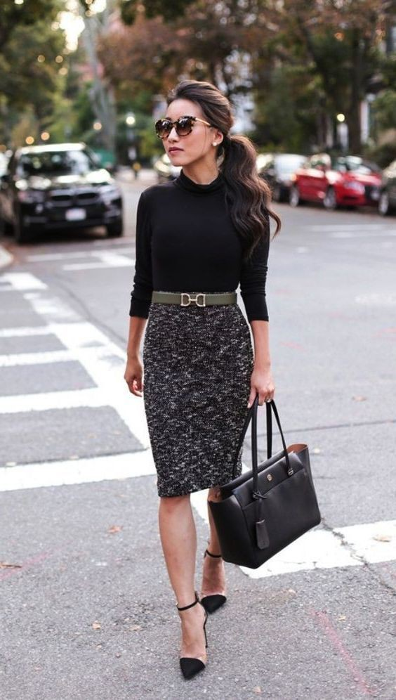 Some of the latest and best skirt office ootd, Little black dress