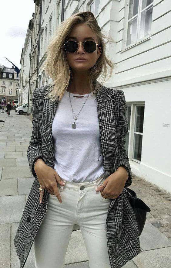 Checked blazer white jeans, Pea coat